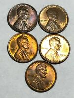 FIVE BU 1935 LINCOLN WHEAT CENTS. VARYING DEGREES OF TONING. LOT3