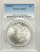 1890-S US MORGAN SILVER DOLLAR $1 - PCGS MINT STATE 65