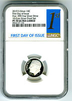 2019 S FIRST .999 FINE SILVER PROOF DIME NGC PF70 UCAM FIRST