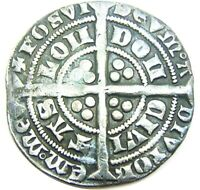 MEDIEVAL ENGLISH SILVER GROAT OF KING EDWARD III MINTED LONDON 1351   1352 A.D.