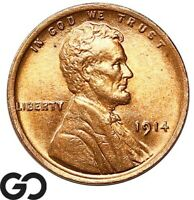 1914 LINCOLN CENT WHEAT PENNY RED GORGEOUS SUPERB GEM BU   R