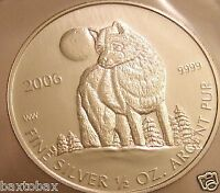 2006 CANADIAN SILVER TIMBER WOLF COIN  RCM SEALED   BU