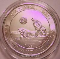 2016 CANADA  WOLVES HOWLING AT FULL MOON  3/4 OZ. .9999 FINE