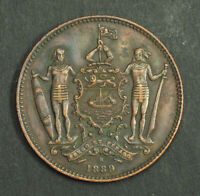 1889 BRITISH NORTH BORNEO  SABAH . BEAUTIFUL LARGE COPPER 1 CENT COIN. XF