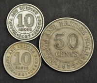 1957/1958/1961 MALAYA & BRITISH NORTH BORNEO. NICE 10 & 50 CENTS COINS. 3PCS