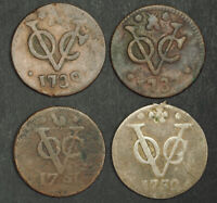 1730/1737/1751/1752 NETHERLANDS EAST INDIES. COPPER DUIT COINS. 4PCS