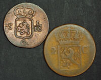 1808/1838 NETHERLANDS EAST INDIES SUMATRA  ISLAND . CU  DUIT   2 CENTS. 2PCS