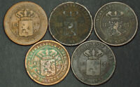 1857 1899 NETHERLANDS EAST INDIES. COPPER 2 CENTS COINS.  VG VF   5PCS