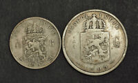 1907/1905 NETHERLANDS EAST INDIES. SILVER 1/10 GULDEN   1/4 GULDEN COINS. 2PCS