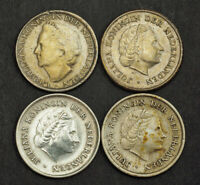 1948 1957 CURACAO/NETHERLANDS ANTILLES COLONY . SILVER 1/10 GULDEN COINS. 4PCS