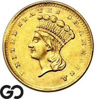 1856 GOLD DOLLAR $1 GOLD INDIAN PRINCESS TYPE 3 SHARP GEM BU