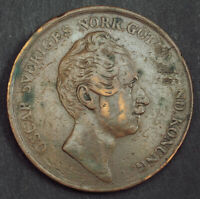 1855 SWEDEN OSCAR I. LARGE COPPER 4 SKILLING COIN.  DAMAGED VF . KEY DATE