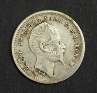 1859 SWEDEN OSCAR I. NICE SILVER 10 RE COIN. VF