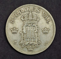 1907 SWEDEN OSCAR II. NICE SILVER 50 RE COIN. VF