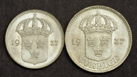 1937 SWEDEN GUSTAF V. BRIGHT SILVER 10 & 25 RE COINS.  BU/UNC BU   2PCS