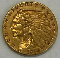1914 D QUARTER EAGLE $2.5 GOLD INDIAN