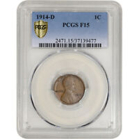 1914-D US LINCOLN WHEAT CENT 1C - PCGS F15