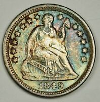 1849-O LIBERTY SEATED HALF DIME.   X.F. DETAIL.  141950