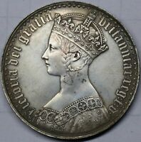 1847 GOTHIC CROWN UNDECIMO BRITISH SILVER COIN FROM VICTORI