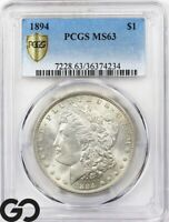 1894 MORGAN SILVER DOLLAR SILVER COIN PCGS MINT STATE 63  TOUGH BETTER DATE