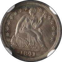1841-P SEATED LIBERTY HALF DIME NGC MINT STATE 65 FANTASTIC LUSTER  STRIKE