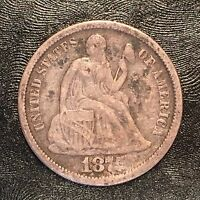 1875 SEATED LIBERTY DIME - HIGH QUALITY SCANS D610