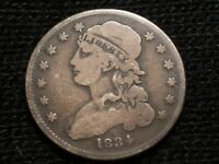 1834 CAPPED BUST QUARTER GOOD  REVERSE ROTATED 45 DEGREES