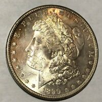 1890-S CHOICE BU MORGAN SILVER DOLLAR.  LOTUR2 FLASHY BEAUTY, GOLD HIGHLIGHTS