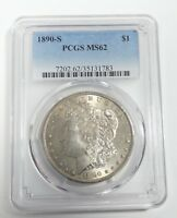 1890-S MORGAN DOLLAR CERTIFIED PCGS MINT STATE 62 SILVER DOLLAR