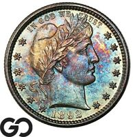 1892 BARBER QUARTER DEEP RAINBOW COLOR SHARP BU