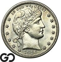 1916 D BARBER QUARTER SHARP GEM BU   FINAL YEAR ISSUE