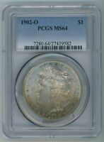 1902 O PCGS MINT STATE 64 MORGAN DOLLAR $1 COIN 1902-O PCGS MINT STATE 64 RAINBOW TONED COLOR