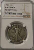 1921 WALKING LIBERTY HALF DOLLAR NGC FINE DETAILS REV SCRATCHED SHIPS FREE