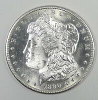 1890-S MORGAN SILVER DOLLAR BU  LOOKS ALMOST GEM WITH LIGHT SURFACE HAIRLINES