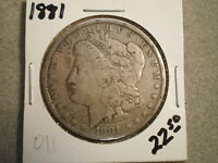 1881 MORGAN SILVER DOLLAR/ CLEANED  @RAW-UNCERTIFIED@