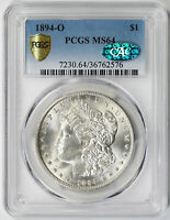 1894-O MORGAN DOLLAR SILVER $1 MINT STATE 64 PCGS SECURE SHIELD CAC APPROVED