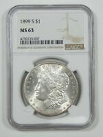 1899-S MORGAN DOLLAR CERTIFIED NGC MINT STATE 63 SILVER DOLLAR