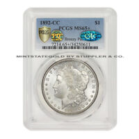 1892-CC $1 MORGAN PCGS MINT STATE 65 PQ APPROVED PLUS GRADED CAC CERTIFIED SILVER DOLLAR