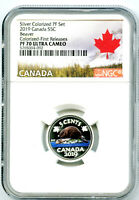 2019 CANADA 5 CENT SILVER COLORED PROOF NGC PF70 UCAM NICKEL