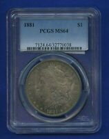1881 P PCGS MINT STATE 64 MORGAN DOLLAR $1 US SILVER  DATE 1881-P PCGS MINT STATE 64