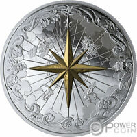 ROSE OF THE WINDS GOLD PLATING 5 OZ SILVER COIN 50$ CANADA 2