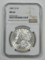 1887-O MORGAN DOLLAR CERTIFIED NGC MINT STATE 62 SILVER $