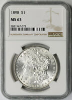 1898 MORGAN DOLLAR SILVER $1 MINT STATE 63 NGC