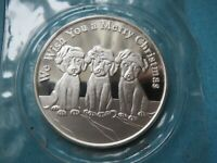 1 OZ .999 FINE SILVER ART ROUND - PUPPIES WE WISH YOU A MERRY CHRISTMAS ROUND 08