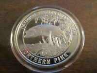 NATIONAL FISHING GRAND SLAM NORTHERN PIKE 1OZ 999 FINE SILVER ROUND  W CAPSULE