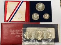 TWO SETS: 1776-1976 BICENTENNIAL SILVER 3-PC PROOF & MINT SETS, COMPLETE LOT2