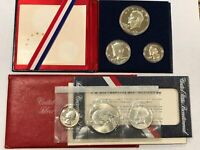 TWO SETS: 1776-1976 BICENTENNIAL SILVER 3-PC PROOF & MINT SETS, COMPLETE LOT3