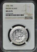 RHODE ISLAND 1936 SILVER COMMEMORATIVE 50C NGC MINT STATE 65PL