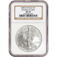 2008-W AMERICAN SILVER EAGLE BURNISHED REVERSE OF 2007 - NGC MS70