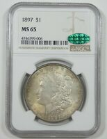 1897 MORGAN DOLLAR CERTIFIED CAC & NGC MINT STATE 65 SILVER DOLLAR